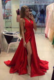 Red A Line Sweep Train Deep V Neck Sleeveless X Back Side Slit Prom Dress,Evening Dress