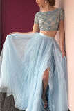 Light Blue Two Piece A Line Floor Length Jewel Neck Half Sleeve Beading Prom Dress,Party Dress