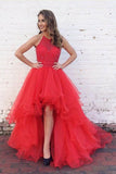 Red Asymmetrical A Line Halter Sleeveless Ruffles Beading Evening/Prom Dress