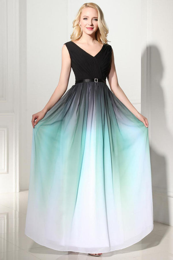 Ombre A Line Floor Length V Neck Sleeveless Mid Back Prom Dress,Formal Dress