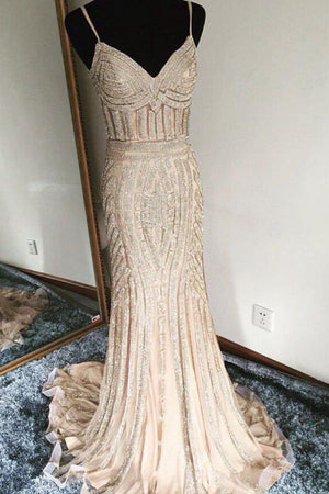 Luxurious Trumpet Sweep Train Sweetheart Spaghetti Sleeveless Beading Evening/Prom Dress