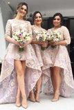 Pink A Line Asymmetrical Jewel Neck 1/2 Sleeve Appliques Bridesmaid Dress, Wedding Party Dress B310 - Ombreprom