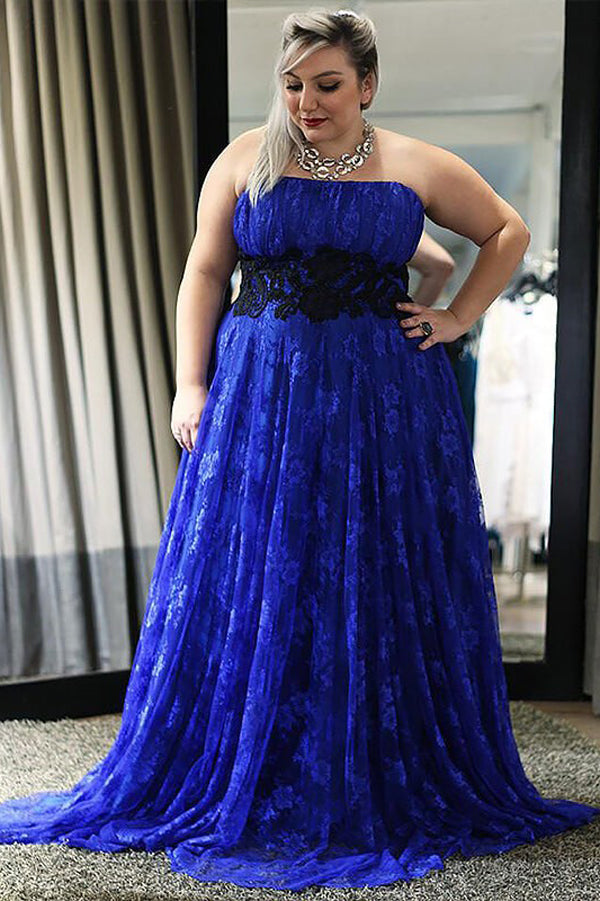 Blue A Line Brush Train Strapless Sleeveless Lace Plus Size Prom Dresses S12 - Ombreprom