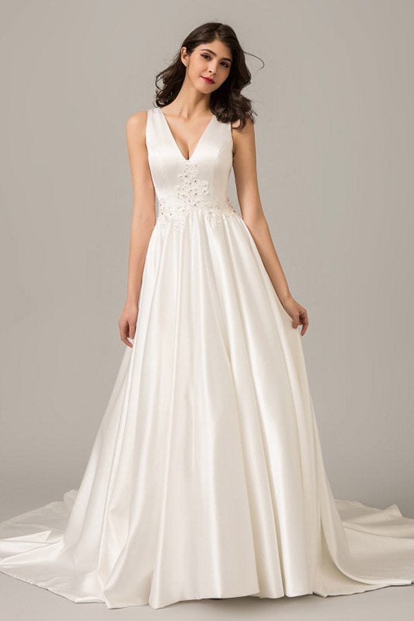 White A Line Court Train Deep V Neck Sleeveless Wedding Dress,Perfect Wedding Gowns