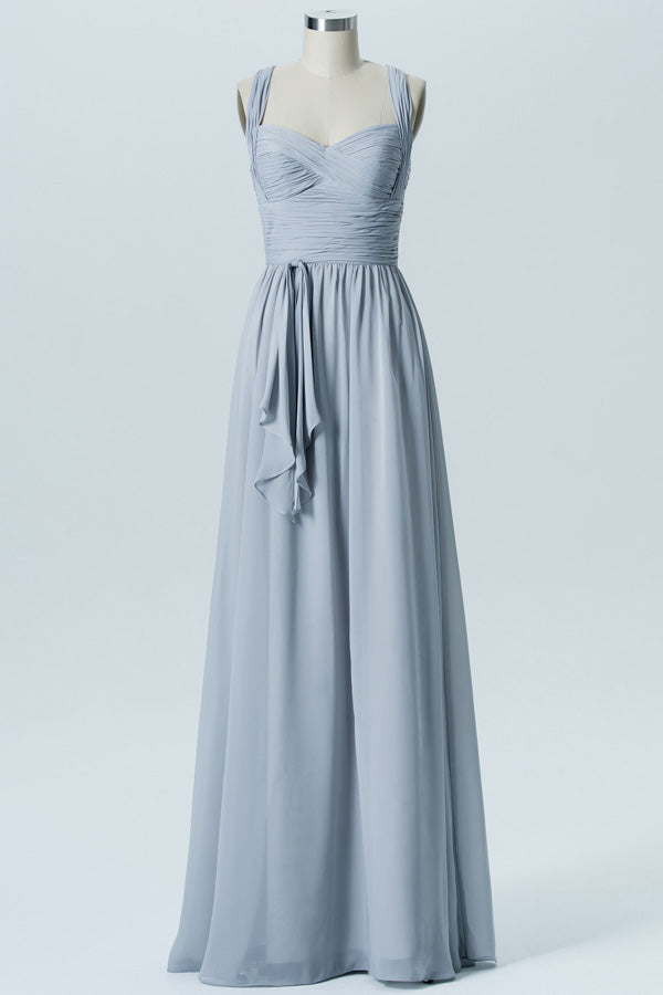 Storm Grey A Line Floor Length Sweetheart Scoop Sleeveless Open Back Cheap Bridesmaid Dresses