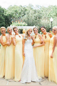 Yellow A Line Floor Length Halter Sleeveless Cheap Bridesmaid Dress B232 - Ombreprom
