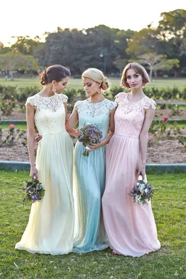 A Line Jewel Neck Floor Length Capped Sleeve Lace Appliques Cheap Bridesmaid Dress B300