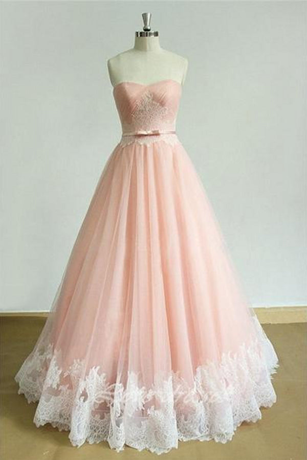 Pink A Line Brush Train Sweetheart Strapless Sleeveless Layers Prom Dress,Party Dress