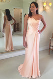 Pink A Line Brush Train One Shoulder Sleeveless Chiffon Bridesmaid Dress, Wedding Party Dress
