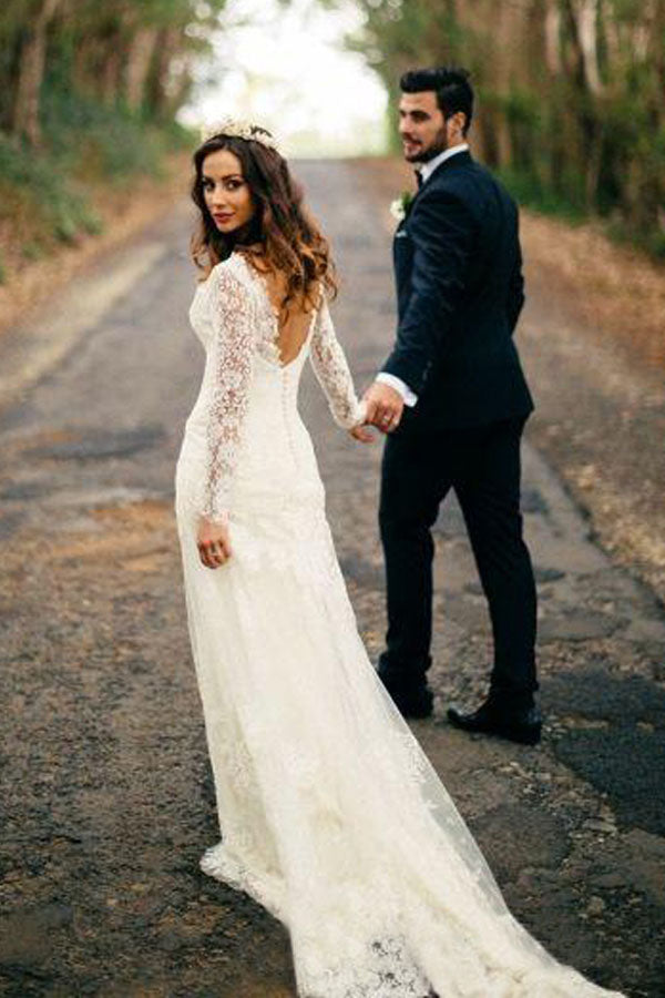 Ivory Sheath Court Train Long Sleeves Deep V Neck Lace Wedding Gown,Cheap Wedding Dress