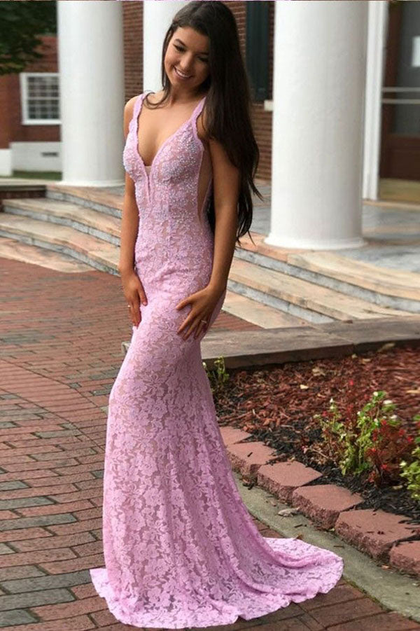 Pink Sheath Brush Train Deep V Neck Sleeveless Backless Lace Prom Dress,Party Dress