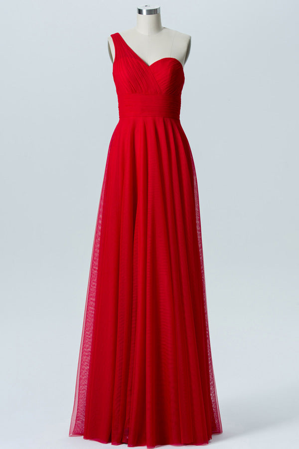 Red A Line Floor Length One Shoulder Sleeveless Open Back Cheap Bridesmaid Dresses