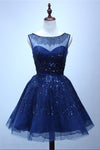 Royal Blue A Line Sheer Neck Sleeveless Deep V Back Sequins Beading Short Homecoming Dress