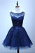 Royal Blue A Line Sheer Neck Sleeveless Deep V Back Sequins Beading Short Homecoming Dress H268