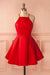 Red A Line Halter Sleeveless Homecoming Dress,Short/Mini Prom Dress H251