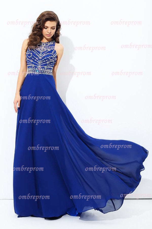 Blue A Line Sweep Train Sleeveless Keyhole Back Beading Chiffon Prom Dress,Party Dress P319 - Ombreprom