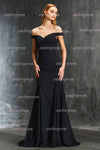 Black Sheath Sweep Train Off Shoulder Sleeveless Open Back Satin Prom Dress,Formal Dress