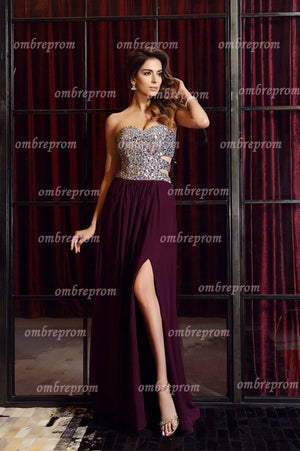 1e667699836 Burgundy A line Sweep Train Sweetheart Strapless Side Slit Beading Prom  Dress
