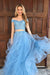 Blue A Line Floor Length Off Shoulder Short Sleeve Appliques Beading Prom Dress,Party Dress P508