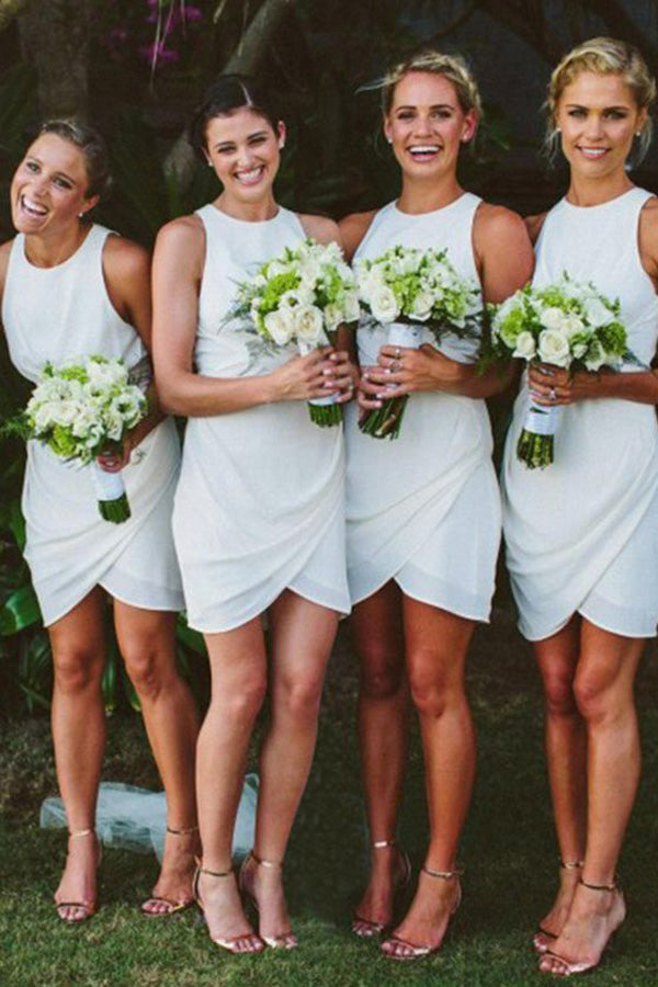 White Sheath Jewel Neck Sleeveless Knee Length Cheap Bridesmaid Dress