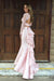 Pink Two Piece Trumpet Sweep Train Long Sleeve Keyhole Back Lace Prom Dress,Formal Dress P283