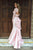 Pink Two Piece Trumpet Sweep Train Long Sleeve Keyhole Back Lace Prom Dress,Formal Dress