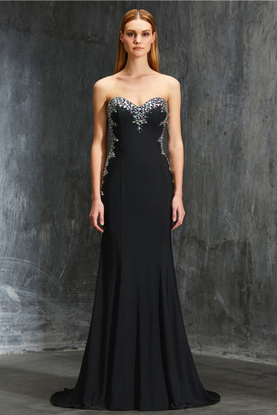 Black Sheath Sweep Train Sweetheart Strapless Backless Beading Prom Dress,Formal Dress P294 - Ombreprom