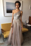 A Line Floor Length One Shoulder Sleevless Beading Side Slit Prom Dress,Party Dress P122 - Ombreprom