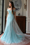 Blue A Line Court Train Off Shoulder Low Back Beading Long Prom Dress,Party Dress P185 - Ombreprom