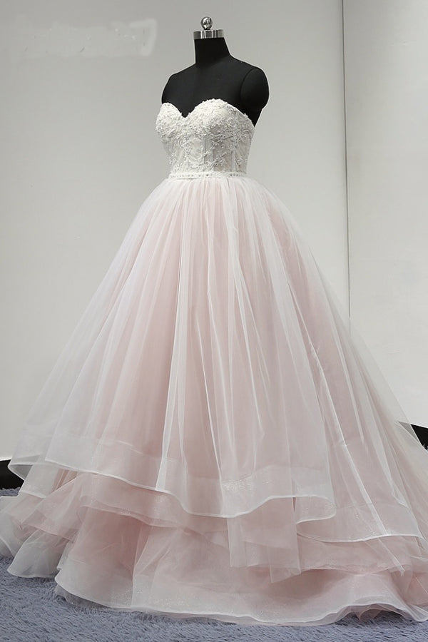 Pink Ball Gown Court Train Sweetheart Sleeveless Appliques Wedding Dress,Wedding Gowns