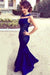 Navy Blue Mermaid Jewel Neck Floor Length Sleeveless Cheap Bridesmaid Dress B298
