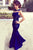 Navy Blue Mermaid Jewel Neck Floor Length Sleeveless Cheap Bridesmaid Dress