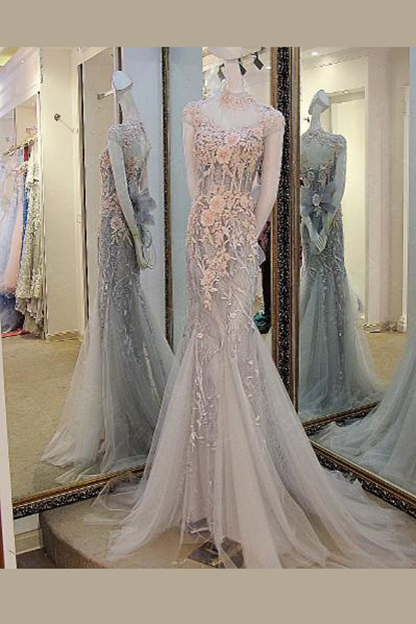 Gray Trumpet Court Train High Neck Short Sleeve Keyhole Back Floral Appliques Prom Dress P103
