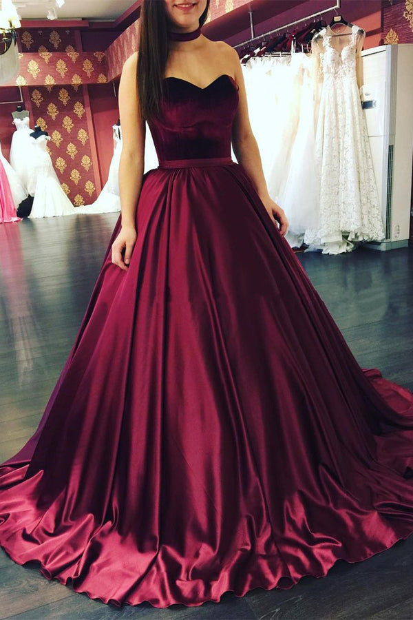 Burgundy Ball Gown Sweep Train Sweetheart Sleeveless Cheap Prom Dress,Evening Dress P248 - Ombreprom