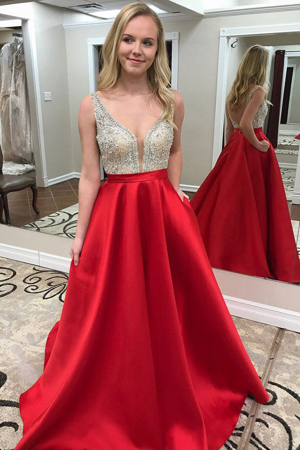 Red A Line Court Train Deep V Neck Backless Sleeveless Beading Prom Dress,Party Dress