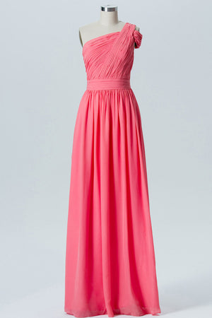 Spiced Coral A Line Floor Length One Shoulder Sleeveless Cheap Bridesmaid Dresses