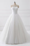 White A Line Court Train Strapless Sleeveless Lace Up Wedding Dress,Wedding Gowns