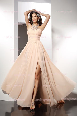 A Line Brush Train Halter Sleeveless Chiffon Beading Side Slit Prom Dress,Party Dress P364 - Ombreprom