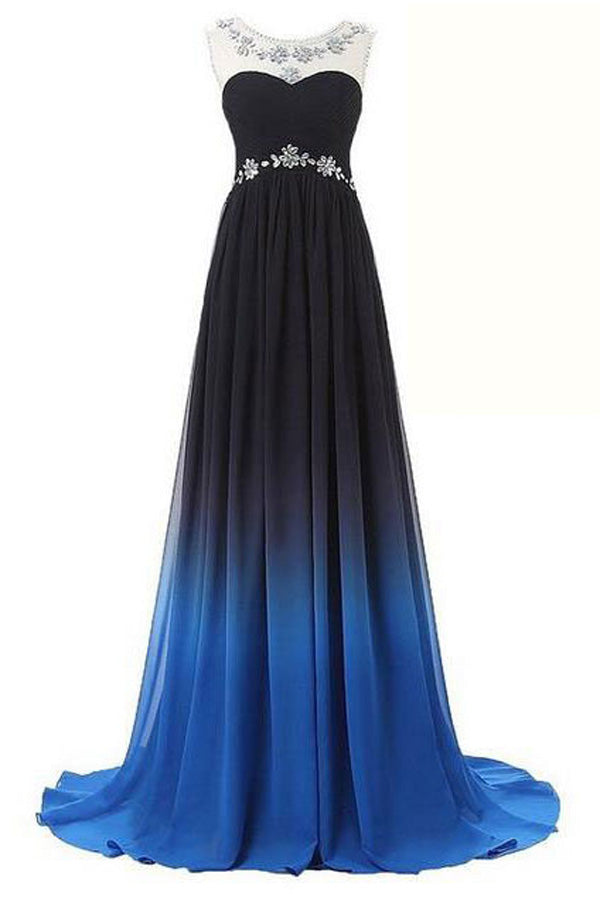 Ombre A Line Brush Train Sheer Neck Sleeveless Open Back Beading Prom Dress,Formal Dress