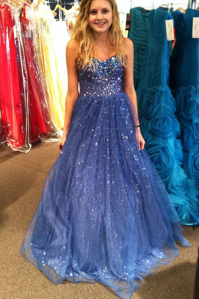 A Line Sweep Train Sweetheart Spaghetti Sleeveless Sparkle Evening/Prom Dress P56 - Ombreprom