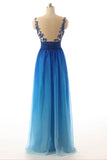Ombre A Line Floor Length Sleeveless Sheer Back Appliques Beading Prom Dress,Party Dress O02 - Ombreprom