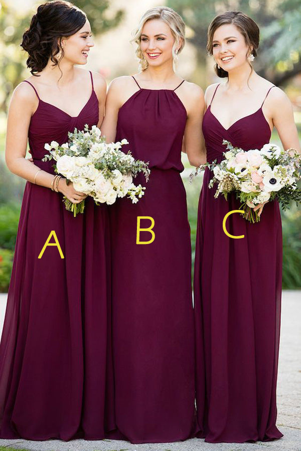 Burgundy A Line Floor Length Sleeveless Open Back Simple Cheap Bridesmaid Dresses B212 - Ombreprom
