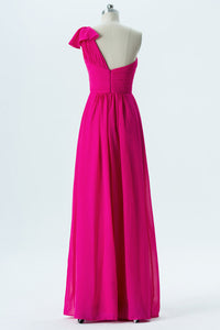 Peony A Line Floor Length One Shoulder Sleeveless Chiffon Cheap Bridesmaid Dresses B168 - Ombreprom