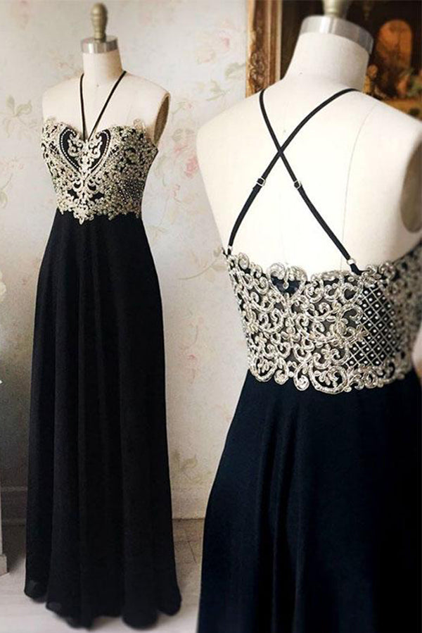 Black A Line Floor Length Hlater Sleeveless Beading Chiffon Prom Dress,Party Dress P361 - Ombreprom