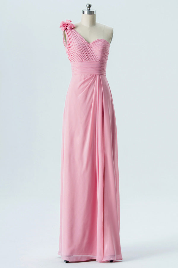 English Rose A Line Floor Length One Shoulder Sleeveless Mid Back Cheap Bridesmaid Dresses