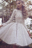 White A Line Jewel Neck Long Sleeve Homecoming Dress,Lace Appliques Short/Mini Prom Dress
