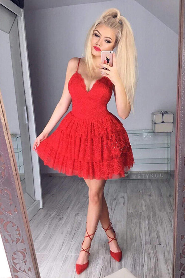 Red Off Sweetheart Spaghetti Sleeveless Homecoming Dress,Ruffles Short/Mini Prom Dress H235 - Ombreprom