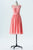 Dusty Coral A Line Knee Length Sheer Neck Sleeveless V Back Cheap Bridesmaid Dresses