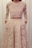 White Two Piece A Line Court Train 3/4 Sleeve Lace Wedding Dress,Beach Wedding Dress W238 - Ombreprom