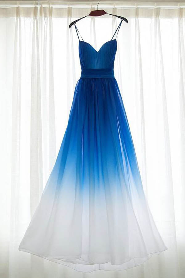 Ombre Blue Sweetheart Spaghetti Sleeveless Prom Dress,A Line Floor Length Evening Dress